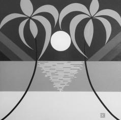 Palm Sun-Day Reflection (B&W)