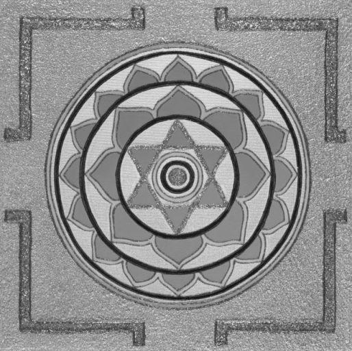 Painted Prayers - Enlightenment Yantra.Small (B&W) J-PEG