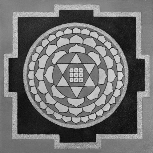 Painted Prayers - Wealth Yantra. Small (B&W) J-PEG